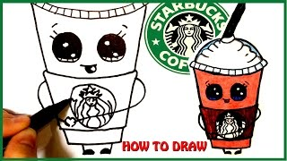 How To Draw A Starbucks Frappuccino Cute Step By Step Cartoon Drink Youtube