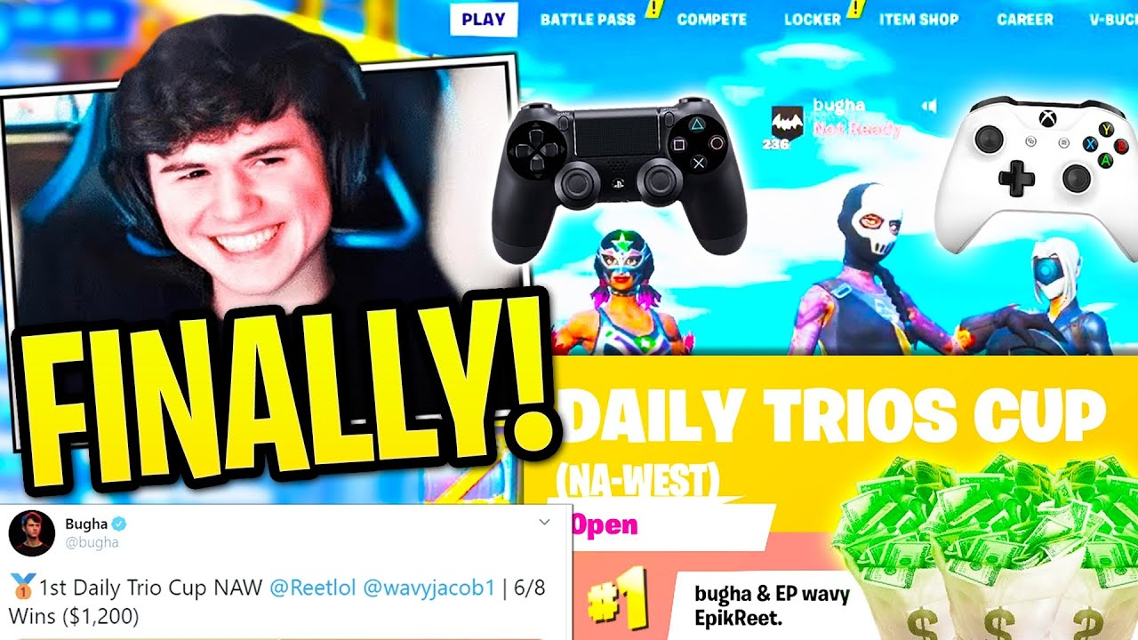 Bugha *FINALLY* Teams Up with 2 CONTROLLER PLAYERS & WINS Trio Cup Easily! (Fortnite)