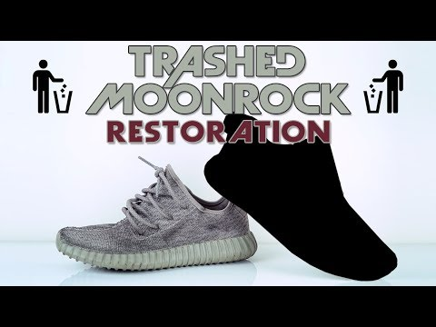 Vick Almighty trashes a pair of Adidas Yeezy 350 Moonrocks.
