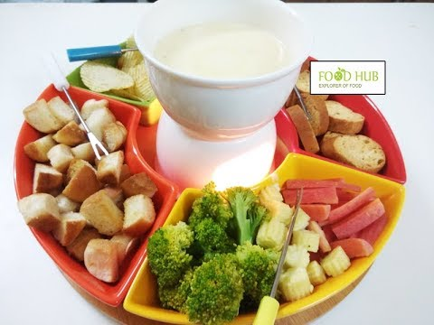 Cheese Fondue | How To Make Fondue Cheese At Home | Non alcoholic Cheese Fondue Recipe By Food Hub