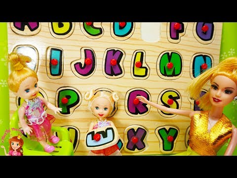 Barbie Princess Doll SCHOOL ! Elsa & Anna toddlers – Singing - Alphabet - teacher Barbie Kids Video