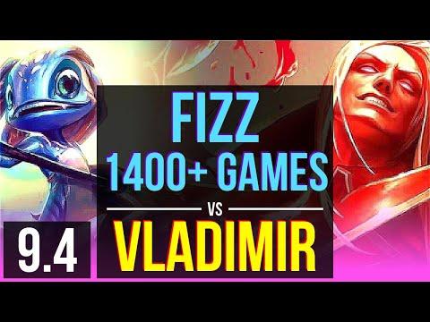 FIZZ vs VLADIMIR (MID) | 4 early solo kills, 1400+ games | Korea Grandmaster | v9.4