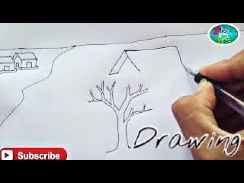 How to draw scenery field without coloring _ Scenery drawing
