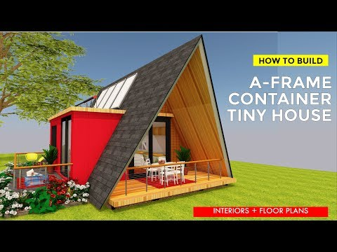 How to Build a Shipping Container A-frame Tiny House Design Off grid + Floor Plans   A-FRAME 320