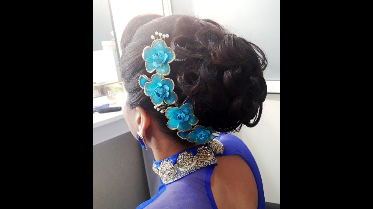 Messy Bun Hairstyle With Curls Party Wear Bun Youtube