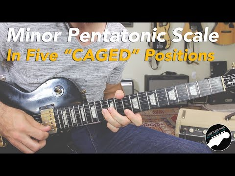 "Am Pentatonic in Five ""CAGED"" Positions 