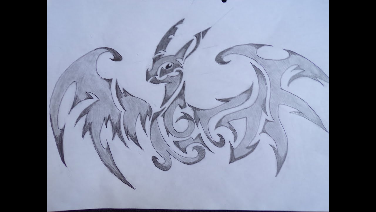 Dessin dessiner un dragon tribal youtube - Dessiner dragon ...