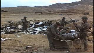 US 1st Division soldiers traverse a twin antiaircraft gun mounted on a vehicle in...HD Stock Footage