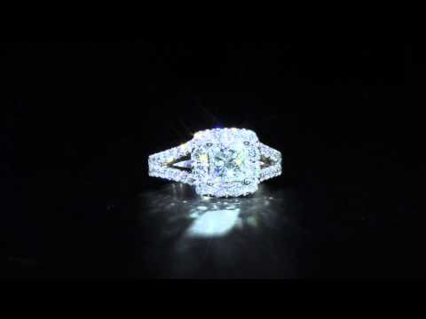 Split Shank Princess Cut Halo Style Engagement Ring