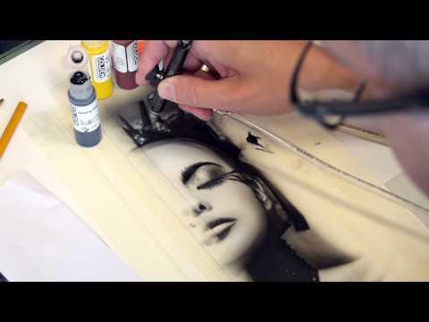 Airbrush TV 49 Golden High Flow Acrylics im Test - Schwarz Weiß Portrait Step by Step
