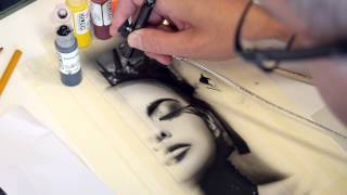 Airbrush TV 49 Golden High Flow Acrylics im Test - Schwarz Weiß Portrait Step by Step