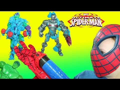 Ultimate Spider-Man Web-Warriors Color Shock Slinger Takes down the Bad Guys!