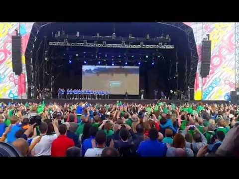 Homecoming party Northern Ireland fans welcoming Will Grigg on the stage