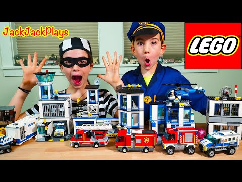 Lego City Police Chase With Fire Trucks At Mine - Pretend Play With JackJackPlays