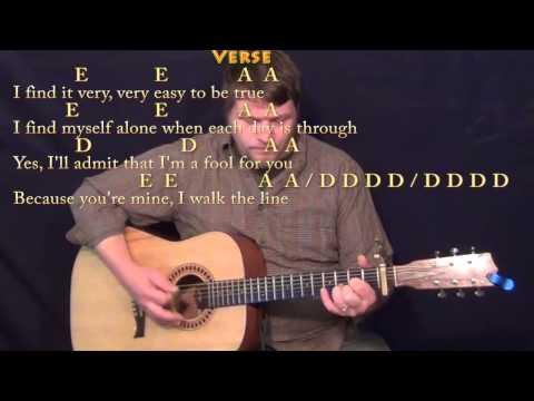 I Walk the Line - Strum Guitar Cover Lesson with Lyrics/Chords - Capo 1st