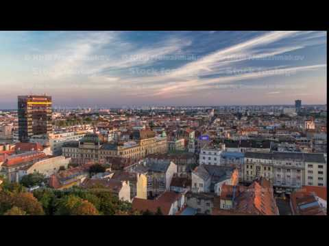 Panorama of the city center timelapse, Zagreb capitol of Croatia, with mail buildings, museums and
