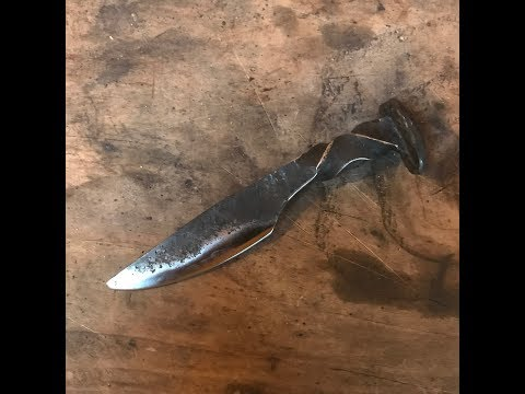 blacksmithing - mini railroad spike knife forging