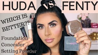 FENTY VS HUDABEAUTY? LET'S COMPARE! FOUNDATION, CONCEALER & SETTING POWDER
