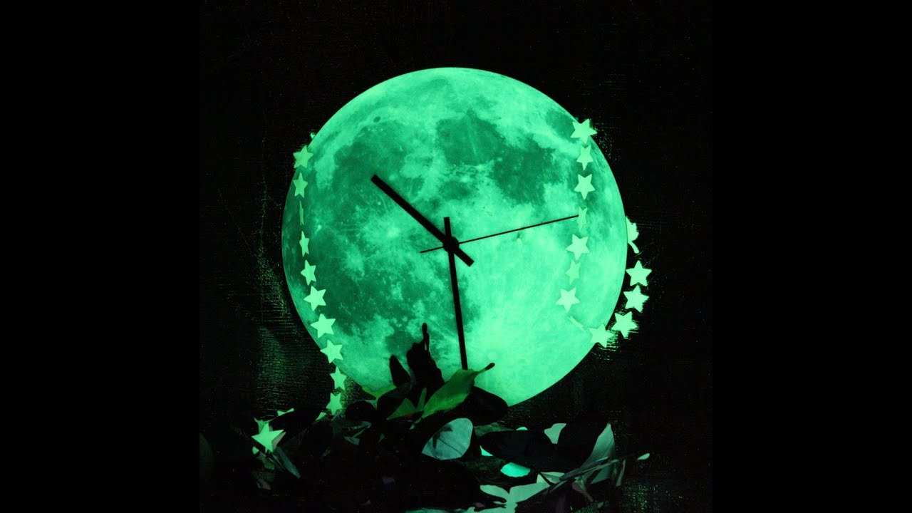 Follow The Moon Home Wall Clock Glowing In The Dark Youtube