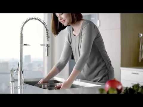 align pre rinse spring kitchen faucet moen features spotlight