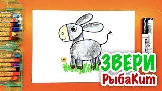 Учимся рисовать ОСЛИКА / Урок рисования для детей от РыбаКит