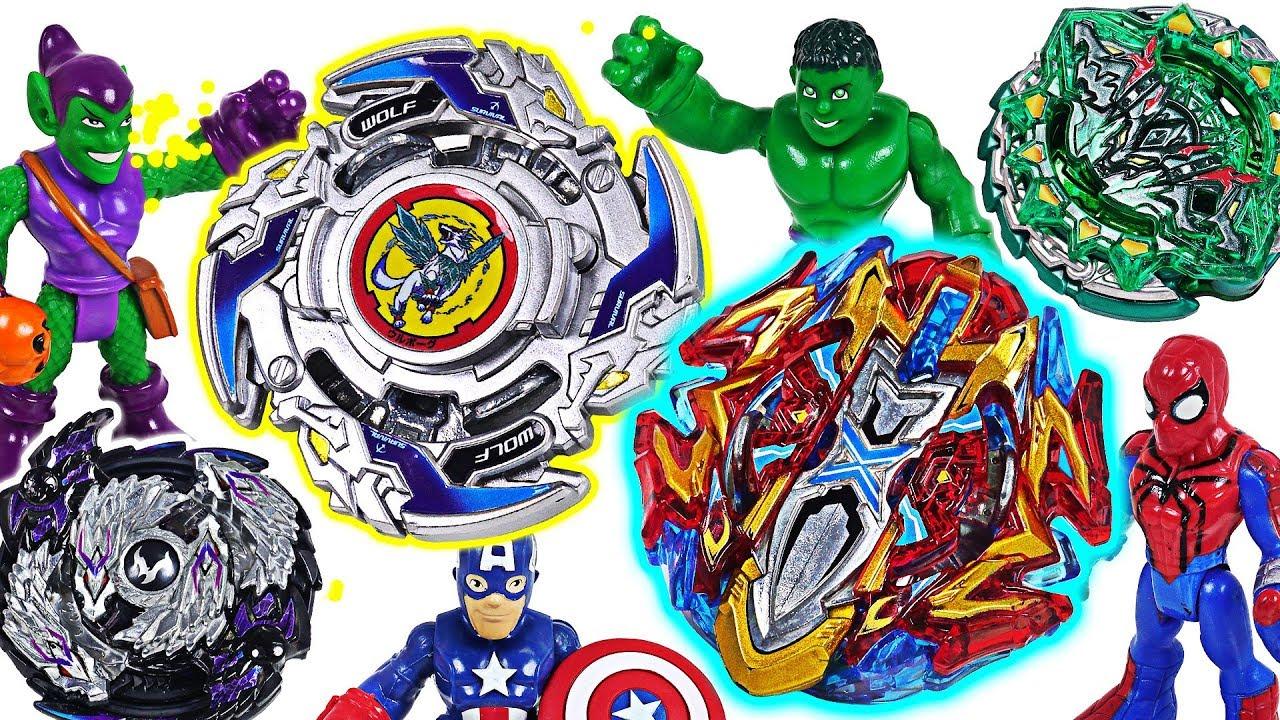 Beyblade super zetsu B-118, 120, 121 appeared! Marvel Avengers Hulk, Spider Man! Go! #DuDuPopTOY