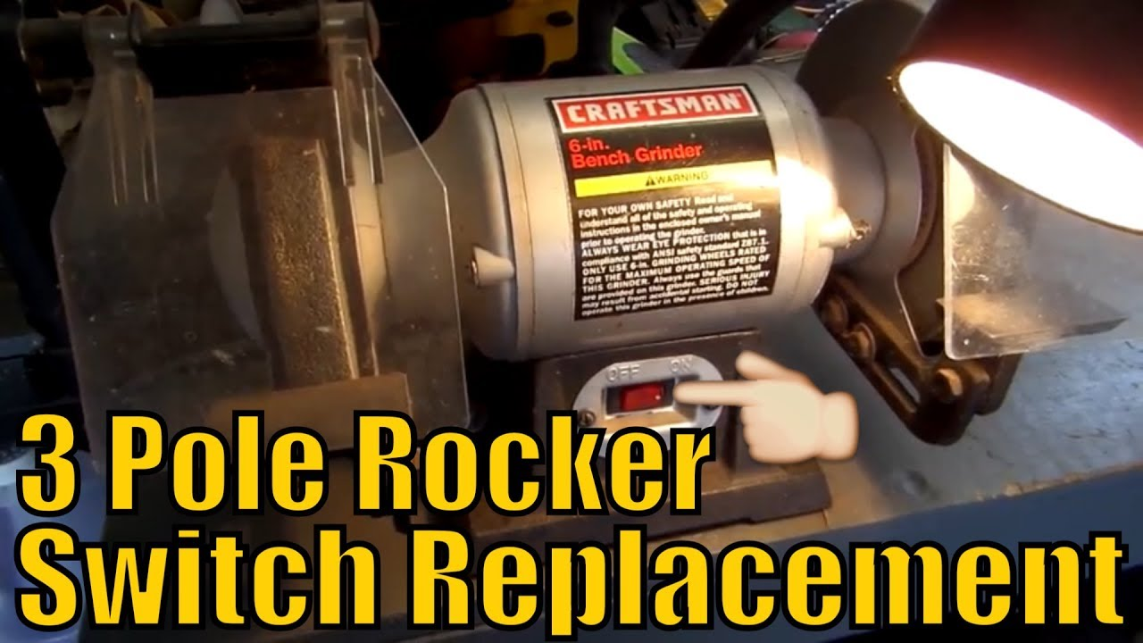 [DIAGRAM_3NM]  Craftsman Bench Grinder Rocker Switch Replacement - YouTube | Bench Grinder Wire Diagram |  | YouTube
