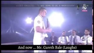 Kroos and Bale speaking spanish on the stage