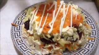 гранатовый салат с куринным филе