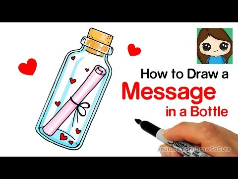 How to Draw a Message of Love in a Bottle Easy
