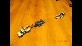 Загрузка лодки на прицеп (Lego)