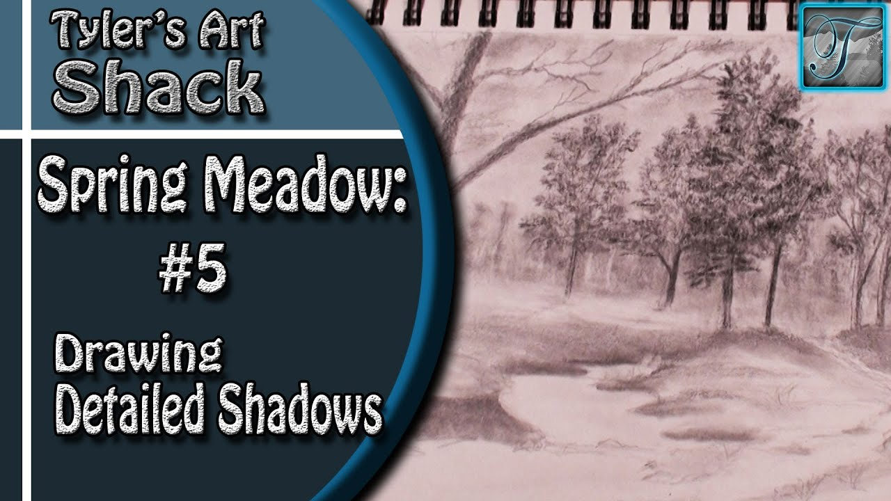 How to Draw a Spring Meadow Series Part 5 - How to add shadows to your Drawing