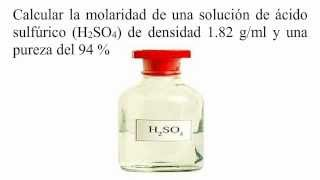 cmo calcular la molaridad de una solucin de cido sulfrico