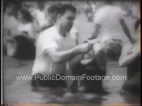Jehovah's Witnesses massive group baptism 1958 archival footage