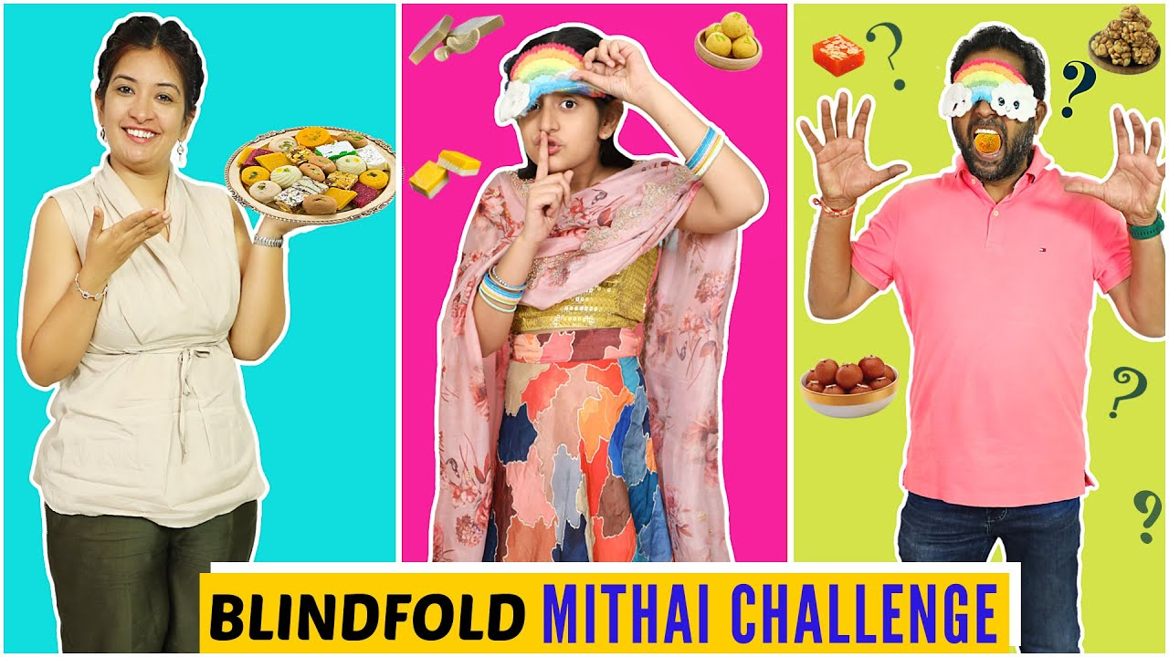 Blindfold MITHAI Challenge - Guess The Sweet | Diwali Special | CookWithNisha