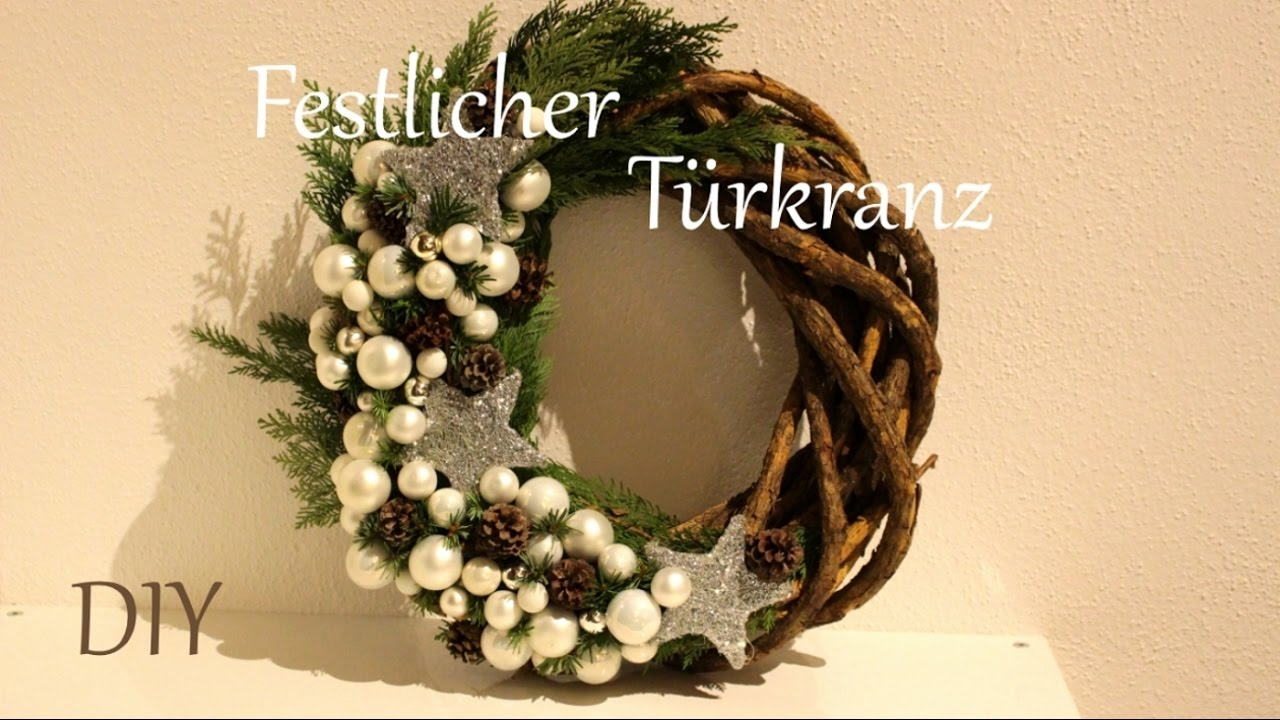 diy festlicher t rkranz weihnachtsdeko just deko youtube. Black Bedroom Furniture Sets. Home Design Ideas