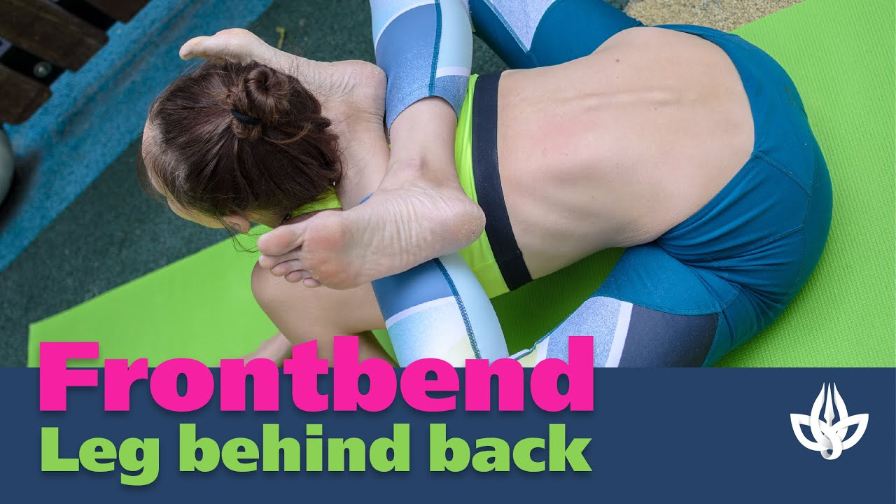 Leg behind back. Yoga. Frontbend Contortion.