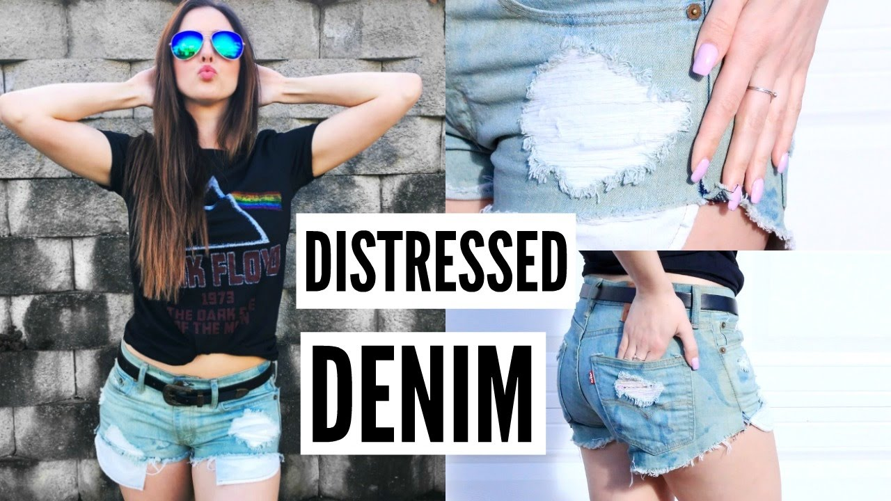 How To Distress Jeans! | DIY Distressed Denim Shorts - YouTube