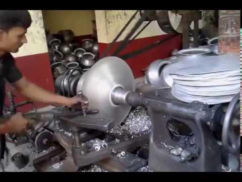 Aluminum utensil spinning workshop in Muslimabad (Daudnagar)
