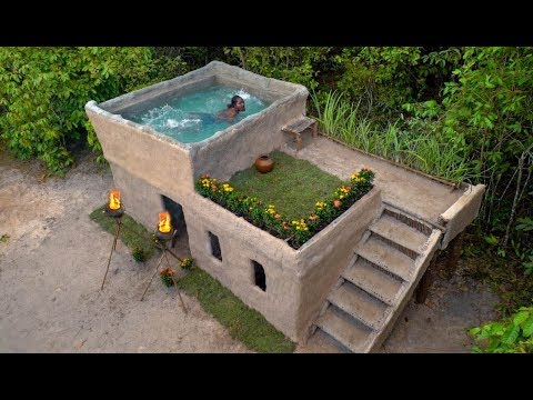 Building Most Beautiful Modern Mud Villa Houses With Swimming Pool On The Rooftop