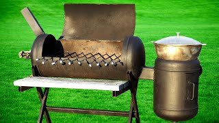 Grill from the cylinder - SMOKER for 2 hours with their hands 5 in 1! Idea for handmade!