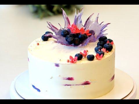 Выравнивание торта и декор торта карамельным цветком