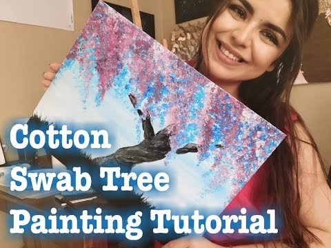 Painting with Cotton Swabs: Floral Tree Tutorial