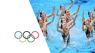 The Russian Federation team win gold in the teams synchronized swim...