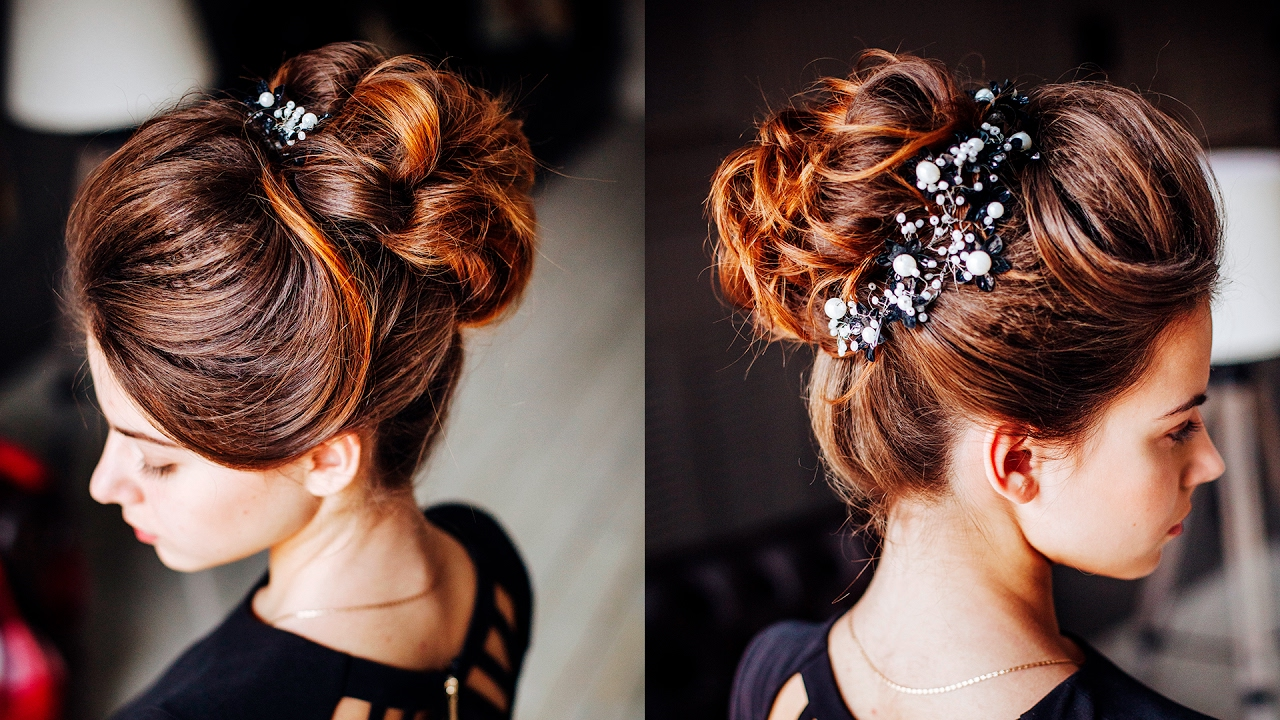 easy hairstyle - messy bun with ponytale / long lenght updo for dark hair