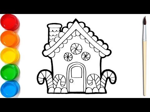 Cara Menggambar Dan Mewarnai Rumah Permen Warna Warni Untuk Anak