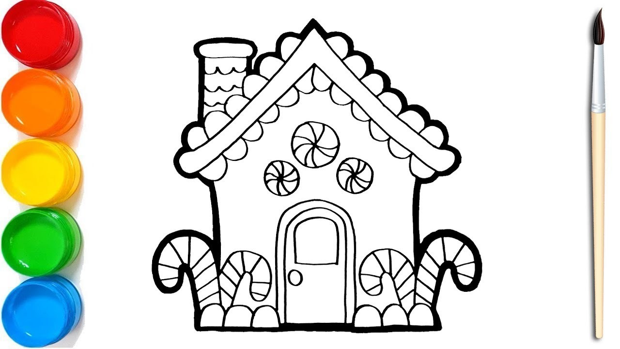 Cara Menggambar Dan Mewarnai Rumah Permen Warna Warni Untuk Anak Anak