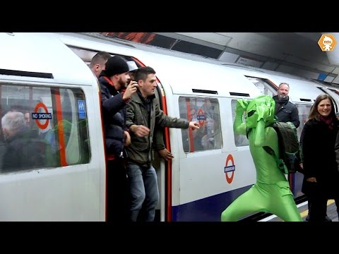 Football Hooligans prevent Green man boarding London metro train 2020