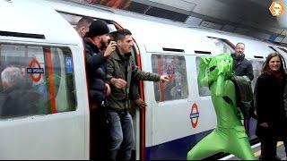 Football Hooligans prevent Green man boarding London metro tra…
