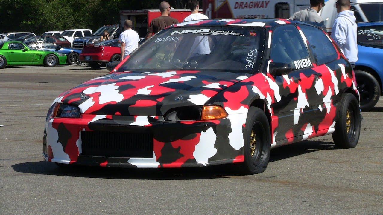 10 Second Honda Civic Drag Race Camo Hatch 10 6 135 Mph